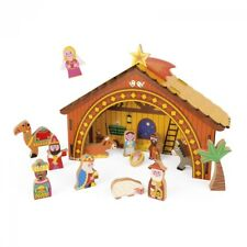 Wooden Nativity Set Childrens Novelty Christmas Scene Jesus Mary Joseph Toy