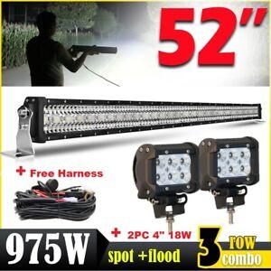 52'' 975W Barre LED Rampe SUV ATV Offroad Spot 12V 24V work Light bar+2X 4'' 18W