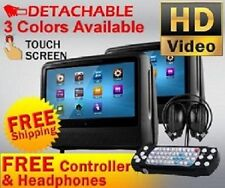 "2018 BLACK DUAL 9"" DIGITAL TOUCHSCREEN HEADREST DVD PLAYER MONITORS HEADPHONES"