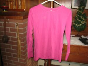 Peaches Women's Long-Sleeve Scrub Top M Solid Hot Pink 100% Cotton Pre-owned