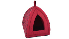 Luxury Fleece Folding Dog Cat Puppy Kitten Pet Igloo Cave House Tent Bed Red