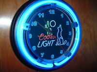 Coors Light Coyote Beer Bar Advertising Man Cave Neon Clock Sign