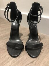 Black Basic Strappy High Heels Round Toe With Gold Buckle Fastening Size 6