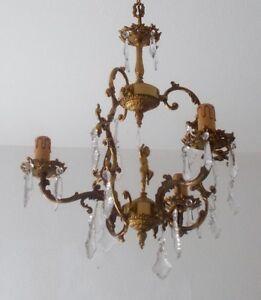 Messing/Bronze Deckenlampe mit Putte und Kristallglas Behang, ca. 42 cm