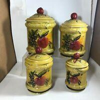 Vintage LEFTON Apple Motif 4 Piece Ceramic Canister Set Country Kitchen