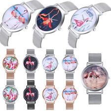 Unisex Armbanduhr Quarzuhr Flamingo gedruckt Uhr Luxus Wristwatch Mesh Band JO