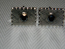 Vintage Hematite on Silver Tone Cufflinks