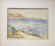 Lucie LARDIN-DECSENYI active XXe.Aquarelle.Sainte-Maxime.1947.SBD.24x32.Située.