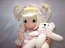 "Precious Moments 13"" Doll ""Boo Hoo"" Blonde Pigtail Girl Pink Dress w/ Teddy Bear"