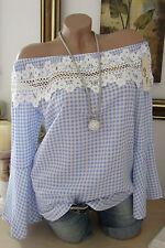 Chemisier Carmen Bleu Blanc À Carreaux Dentelle Au Crochet 34 36 38 À Volants