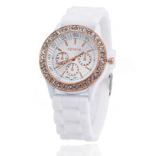 WOMENS WATCH Silicone Jelly Quartz Geneva Crystal Stone Wristwatch Various COLOR