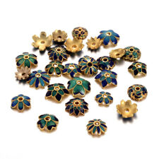 100PC Gorgeous Brass Enamel Bead Caps Gold Tone More-Petal Findings Craft 5~11mm