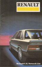 Renault Dealer List 1984-85 UK Market Brochure