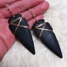 Womens Indiana Bohemian Vintage Black Color Wooden Material Dangle Hook Earrings