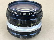 Nikon 28mm f/3.5 NIKKOR-H.C Auto Non-Ai Manual Focus Lens SN851335 Clean