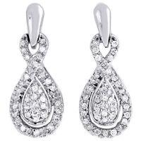 Diamond Infinity Loop Earrings 10K White Gold Round Ladies Danglers 1/3 Ct.