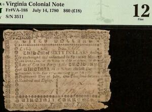 1780 $60 DOLLAR BILL VIRGINIA COLONIAL CURRENCY NOTE OLD PAPER MONEY VA-188 PMG