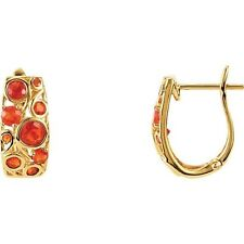 Genuine Mexican Fire Opals Lever Back Hoop style 14K. Solid Yellow Gold Earrings