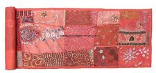 STUNNING LONG TAPESTRY ORANGE TABLE CLOTH RUNNER EMBROIDERED INDIAN WALL HANGING