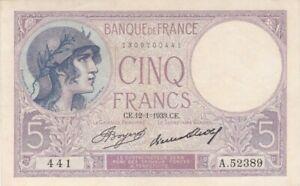 5 FRANCS VIOLET DU 12-1-1933 TTB+