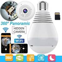 360°HD Wifi Bulb IP Hidden Camera Panoramic Home Security Spy Cam Light LED Bulb