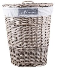 Grey Oval Matt Wicker Laundry Basket Cotton Lining With Lid