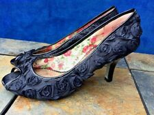POETIC LICENCE Peep Toe Rosette Satin Rose LONDON Formal High Heels Womens Sz 7