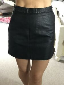 Womens Topshop Black Leather Mini Skirt (size 6) With Pockets