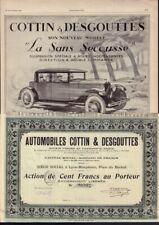 Automobiles Cottin & Desgouttes Lyon 1920 + original vintage ad 1927
