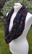 Infinity scarf in vintage Laura Ashley baby needle cord black flowers