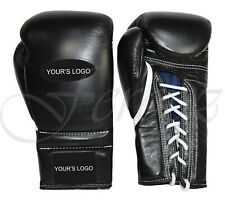 Genuine Leather Black Professional Lace Boxing Gloves No Winning No Grant