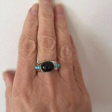 Genuine Sleeping Beauty Turquoise & Onyx Silver Band Ring Size 7.25