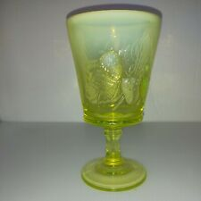 Vaseline Opalescent Yellow Strawberry Pattern  Vintage Goblet