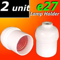 2x E27 Lamp Holder Edison Screw ES Bulb Light Fitting Accessories 240V White NEW