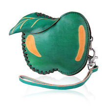 Fashion Green Apple Coin Leather Purse Wallet Handbag Charm Keychains LW1