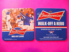 "Beer Coaster: BUDWEISER 2012 Baseball ""Walk-Off A Hero"" Folds of Honor ~ DODGERS"