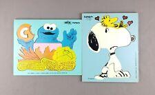 Playskool Vintage Wooden Puzzles (2) - Sesame Street Cookie Monster and Snoopy