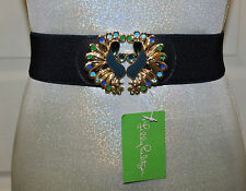 NWT LILLY PULITZER EMMETT PEACOCK BELT TRUE NAVY XS/S COLORED STONE