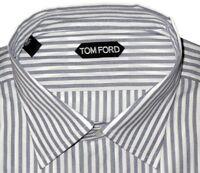 $640 NEW TOM FORD WHITE BLUE-BLACK CHAMBRAY STRIPE HAND MADE DRESS SHIRT 44 17.5