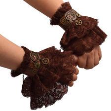 Vintage Gothic Women Steampunk Gear Brown Lace Victorian Wrist Cuff Bracelet