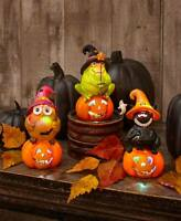 Color-Changing Halloween Figurines Owl Cat Frog  Set of 3  Holiday Decor  New