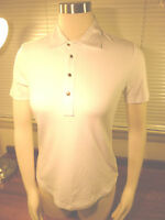 NWT Lauren RALPH LAUREN Cotton blend White Short Sleeve Polo Shirt Size PM $59