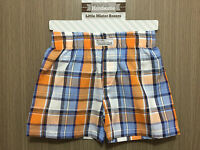 BNWT Baby Boys 3-6 Months Sz 00 Itty Bitty & Handsome Orange/Blue Checked Shorts