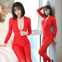 Damen Transparent Langarm Jumpsuit Reißverschluss Playsuit Catsuit Nachtwäsche