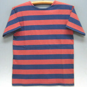 WAREHOUSE Border Short Sleeve T-shirt Red X Navy Size 36 Used from Japan