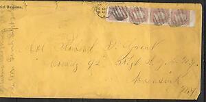 1862 US OFFICIAL BUSINES ENVELOPE COVER # 65 -3¢ Washington Rare Strip of 4 VF