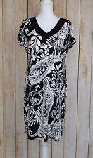 Fashion Bug Women's Sheath Dress Paisley Print Black White Large L Short Sleeve