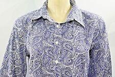 Talbots Navy Blue Paisley Wrinkle Resistant Petite Long Sleeve Shirt Top Sz 10P