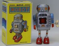 Tin Litho Wind up WALKING ROBOT Space Toy, mint in box