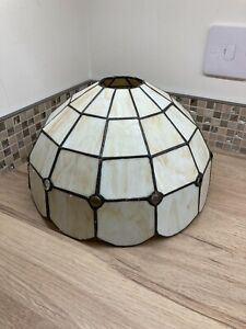 Large Vintage Tiffany Style Ceiling Lamp Light Shade Stained Glass Mid Century